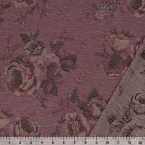 Blue Plum Floral on Heather Magenta French Terry Blend Knit Fabric