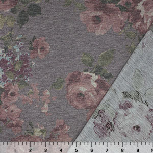 Muted Maroon Floral on Light Purple French Terry Blend Knit Fabric