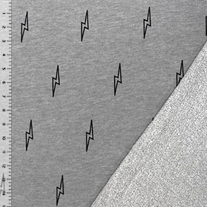 Lightning Bolts on Heather Gray French Terry Knit Fabric