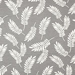 Ivory Leaf Silhouettes on Gray French Terry Blend Knit Fabric