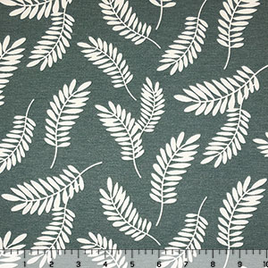 Ivory Leaf Silhouettes on Teal French Terry Blend Knit Fabric