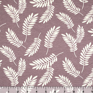 Ivory Leaf Silhouettes on Thistle French Terry Blend Knit Fabric