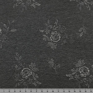 Half Yard Ivory Stitched Floral on Charcoal French Terry Blend Knit Fabric
