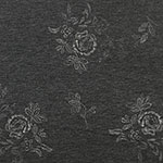 Ivory Stitched Floral on Charcoal French Terry Blend Knit Fabric