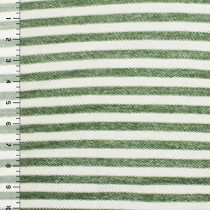 Olive Green Stripe Inverted French Terry Blend Knit Fabric