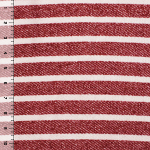 Vintage Red Breton Stripe French Terry Blend Knit Fabric