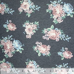 Blue Mauve Floral on Heather Charcoal French Terry Blend Knit Fabric