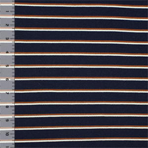 Caramel Cream Preppy Stripe on Navy French Terry Knit Fabric