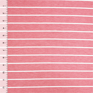 Half Yard Rose Pink Breton Stripe French Terry Spandex Blend Knit Fabric