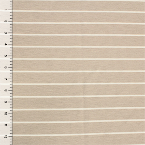 Taupe Breton Stripe French Terry Spandex Blend Knit Fabric