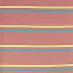 Blue Yellow Stripes on Rosey Pink French Terry Spandex Blend Knit Fabric