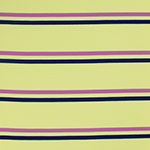 Navy Orchid Stripes on Light Yellow French Terry Spandex Blend Knit Fabric