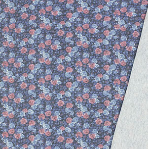 Red Blue Rose Garden Inverted French Terry Blend Knit Fabric