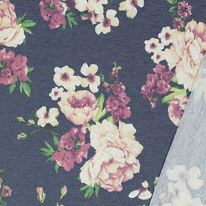 Mauve Cream Floral Bouquets on Denim Blue French Terry Blend Knit Fabric