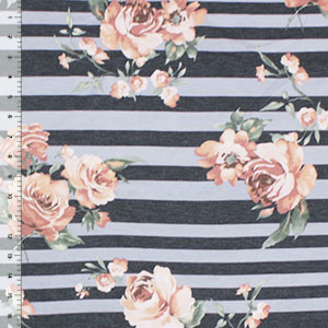 Peachy Mauve Roses on Charcoal Gray Multi Stripe French Terry Blend Knit Fabric