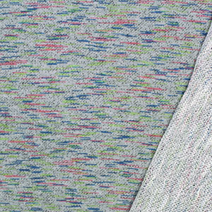 Space Dyed Rainbow & Dots on Heather Gray French Terry Blend Knit Fabric