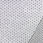 Embroidered Black Dots & Pinstripe on Heather Gray French Terry Knit Fabric