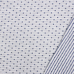 Embroidered Navy Dots & Pinstripe on Heather Gray French Terry Knit Fabric