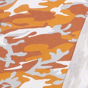 Gray Orange Camo on White French Terry Knit Fabric