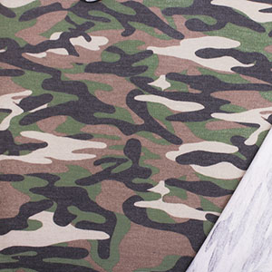 Muted Green Charcoal Camo Inverted French Terry Blend Knit Fabric