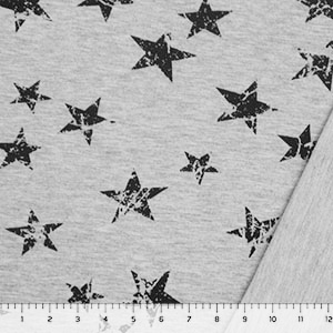Vintage Black Stars on Heather Gray French Terry Knit Fabric
