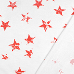 Vintage Coral Stars on White French Terry Knit Fabric