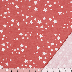 Small Stars on Vintage Red French Terry Knit Fabric