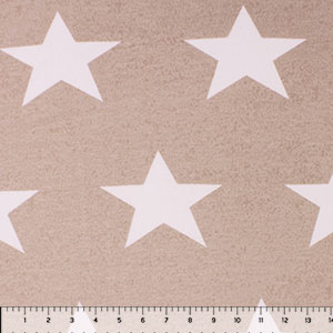Big White Stars on Taupe Pebble French Terry Knit Fabric