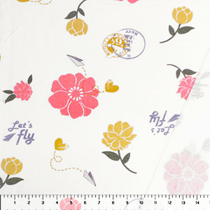 Mustard Coral Airmail Love Floral French Terry Knit Fabric