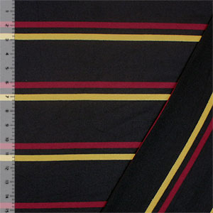 Gold Red Preppy Stripe on Black French Terry Knit Fabric