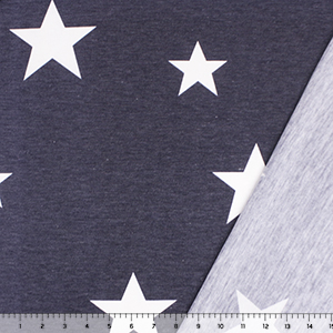 White Tossed Stars on Dark Denim Blue French Terry Knit Fabric