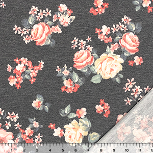 Muted Orange Peach Roses on Heather Charcoal French Terry Blend Knit Fabric