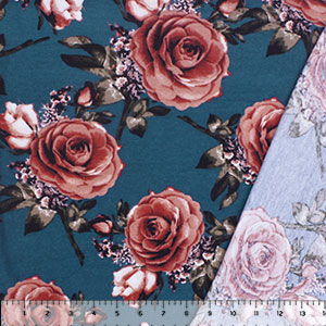 Big Deep Mauve Roses on Teal Blue Inverted French Terry Knit Fabric