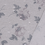 Vintage Lilac Floral on Heather Gray Distressed French Terry Blend Knit Fabric
