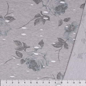 Vintage Blue Floral on Heather Gray Distressed French Terry Blend Knit Fabric