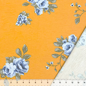 Blue Floral Bouquets on Mustard French Terry Blend Knit Fabric