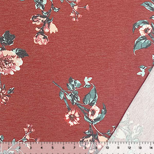 Red Carnation Floral on Heather Red French Terry Blend Knit Fabric