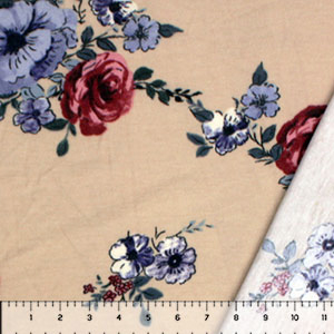 Red Blue Roses on Sand Inverted French Terry Knit Fabric