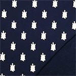 White Turtle Silhouettes on Navy Blue French Terry Knit Fabric