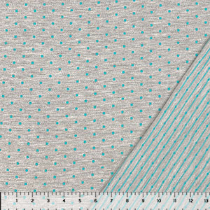 Embroidered Turquoise Dots & Pinstripe on Heather Gray French Terry Knit Fabric