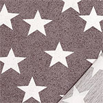 Big White Stars on Gray Pebble French Terry Knit Fabric
