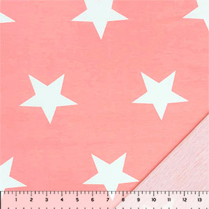 Big White Stars on Pink French Terry Knit Fabric