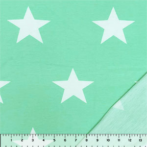 Big White Stars on Mint French Terry Knit Fabric