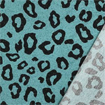 Black Animal Spots on Teal Pebble French Terry Knit Fabric