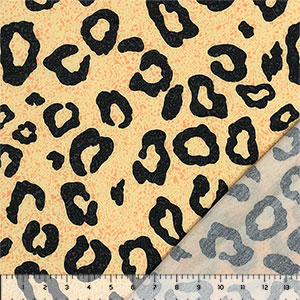 Black Animal Spots on Lemon Pebble French Terry Knit Fabric
