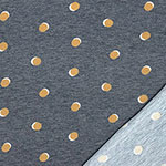 Mustard Shadow Dots on Denim Blue Heather French Terry Knit Fabric