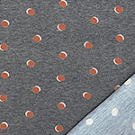 Terracotta Shadow Dots on Denim Black Heather French Terry Knit Fabric