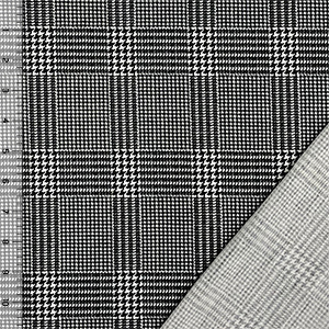 Black White Tiny Houndstooth Plaid French Terry Knit Fabric