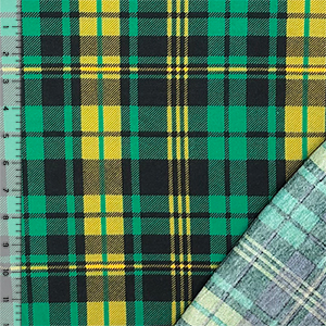 Green Yellow Black Plaid French Terry Knit Fabric