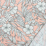 Gray Outline Tropical Floral on Blush Bamboo French Terry Spandex Blend Knit Fabric